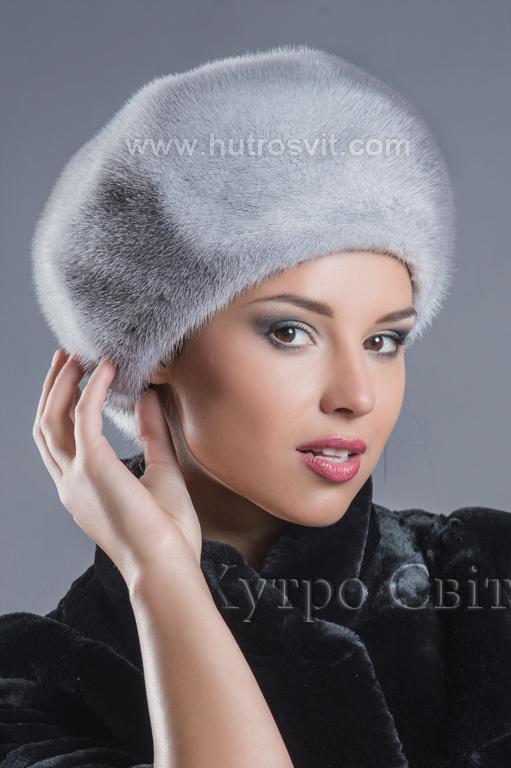 женские меховые шапки береты из норки