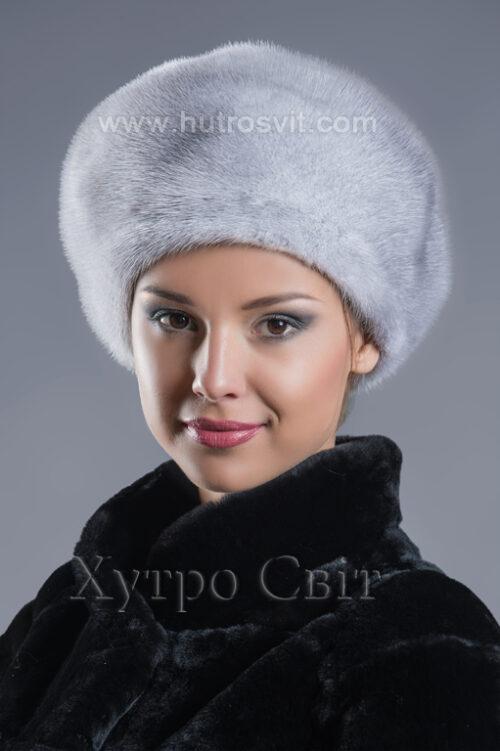 Женский головной убор - меховой берет голубая норка, фото 2