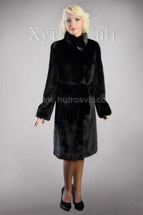 Шуба из скандинавской черной норки, воротник стойка, пальтовой фасон, фото 1
