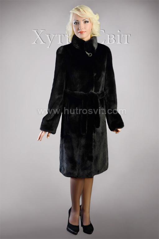 Шуба із чорної скандинавської норки, комір стійка, модель пальто Фото 1