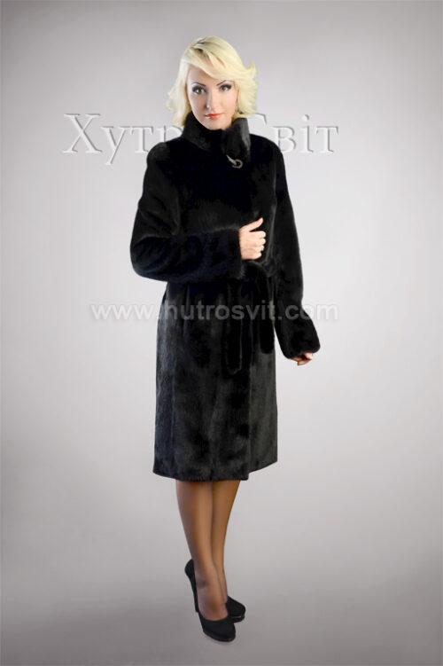 Шуба из скандинавской черной норки, воротник стойка, пальтовой фасон, фото 2