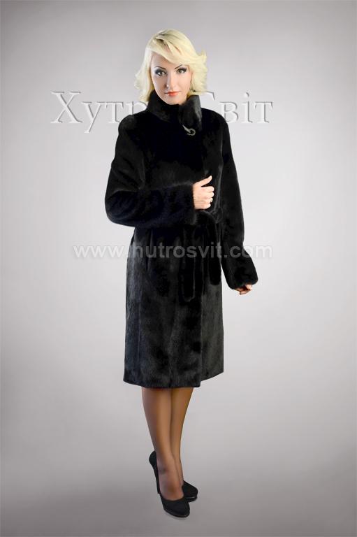Шуба із чорної скандинавської норки, комір стійка, модель пальто Фото 2