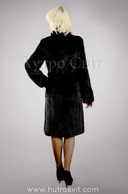 Шуба из скандинавской черной норки, воротник стойка, пальтовой фасон, фото 3