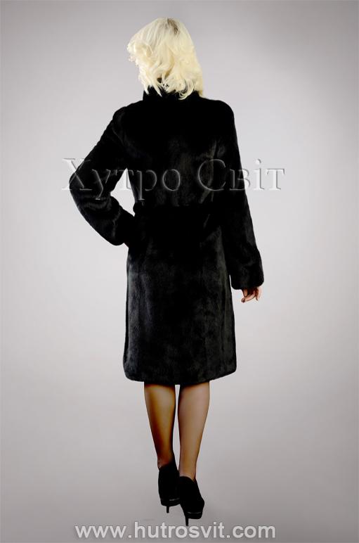 Шуба із чорної скандинавської норки, комір стійка, модель пальто Фото 3