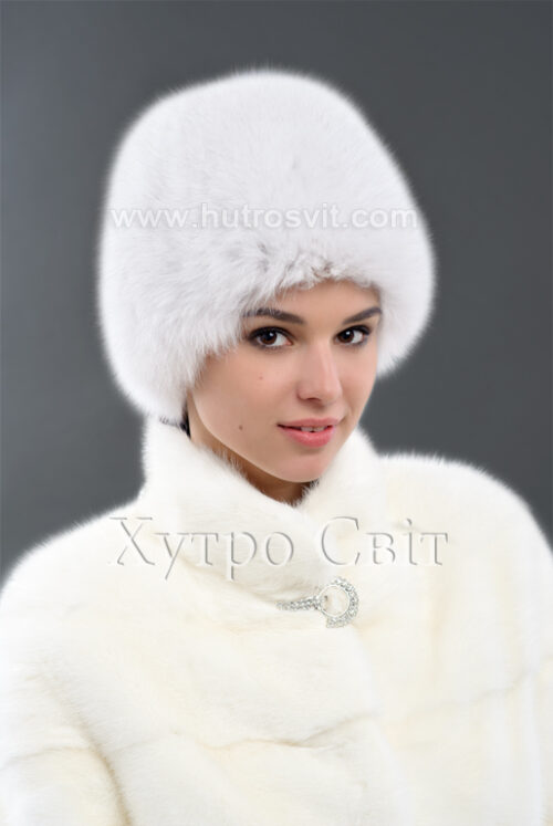 Песцева шапка білого кольору, фото 1