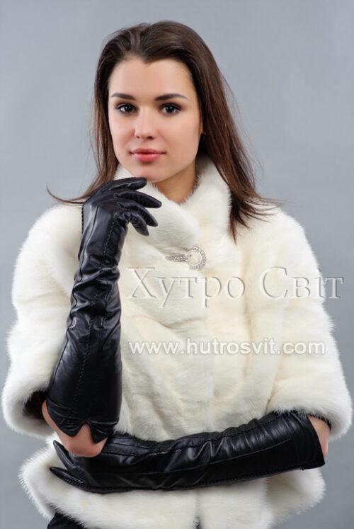 Півшубок-пелерина рукав 3/4 із білої норки, фото 2