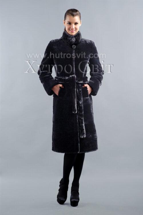 продукция производителя  ХутроСвіт Тисмениця 2021 Мутоновая шуба пальто норковый воротник стойка, фото 1