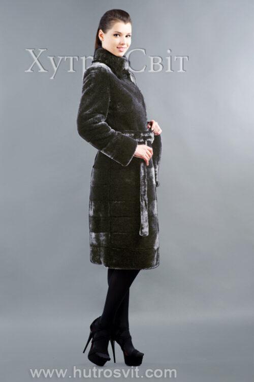 продукция производителя  ХутроСвіт Тисмениця 2020 Мутоновая шуба пальто норковый воротник стойка, фото 2