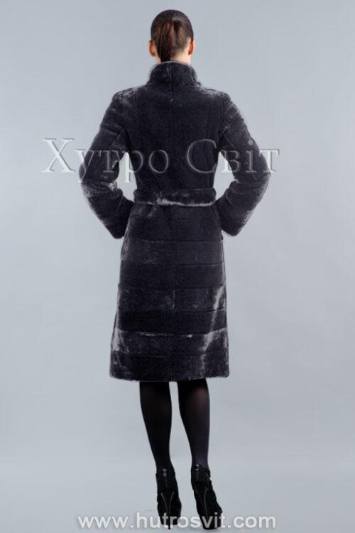 продукция производителя  ХутроСвіт Тисмениця 2021 Мутоновая шуба пальто норковый воротник стойка, фото 3