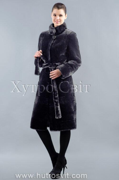 продукция производителя  ХутроСвіт Тисмениця 2020 Мутоновая шуба пальто норковый воротник стойка, фото 4