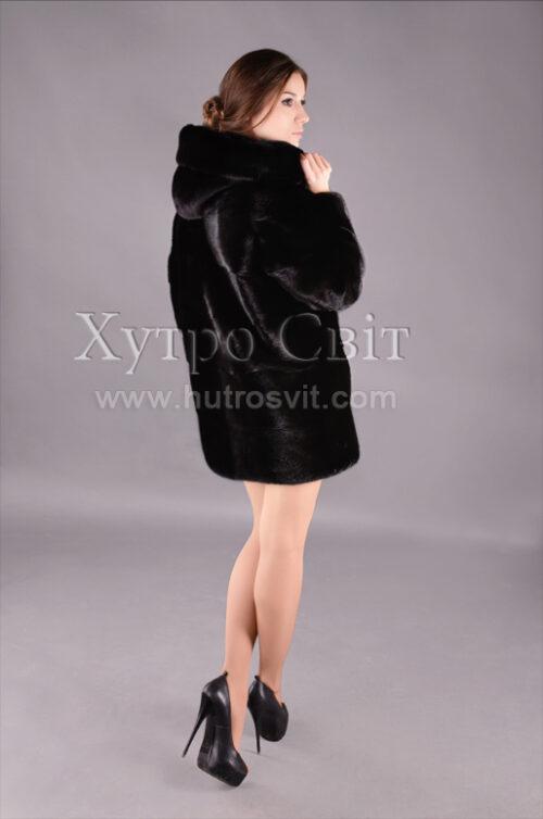 Курточка-півшубок поперечка з капюшоном із скандинавської норки