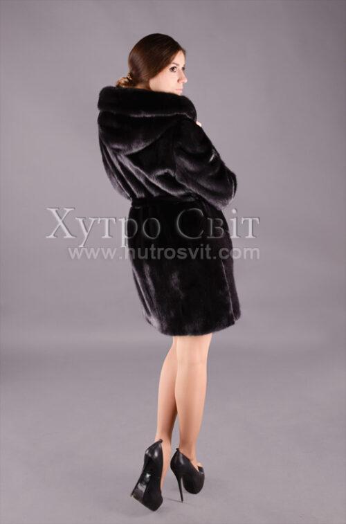 Самая популярная модель года - шуба скандинавская черная норка с капюшоном и поясом., фото 2