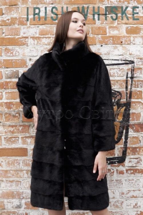 продукция производителя  ХутроСвіт Тисмениця 2021 Норковая шуба поперечного кроя с воротником стойка из меха категории эконом, фото 1
