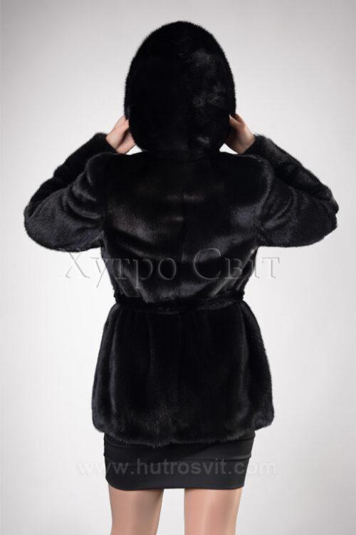 Норковый полушубок с капюшоном, фото 3