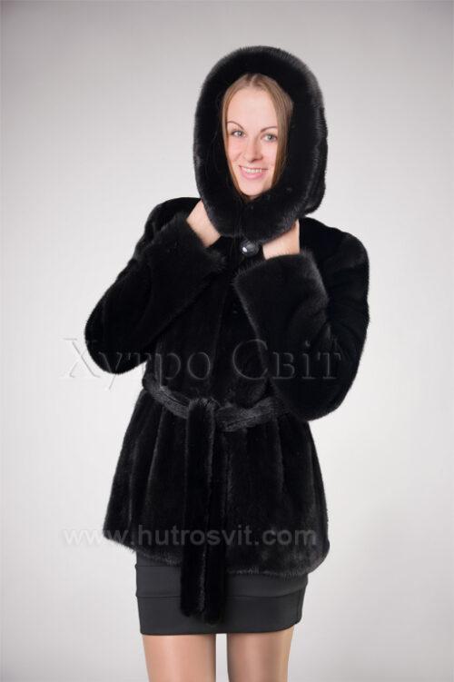 Півшубок норковий з капюшоном із аукціонної скандинавської норки, фото 3