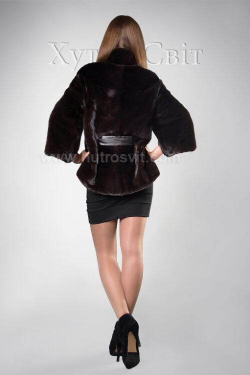 Норковый полушубок Блэкглама с воротником стойка, возможен укороченный и полный рукав, фото 2