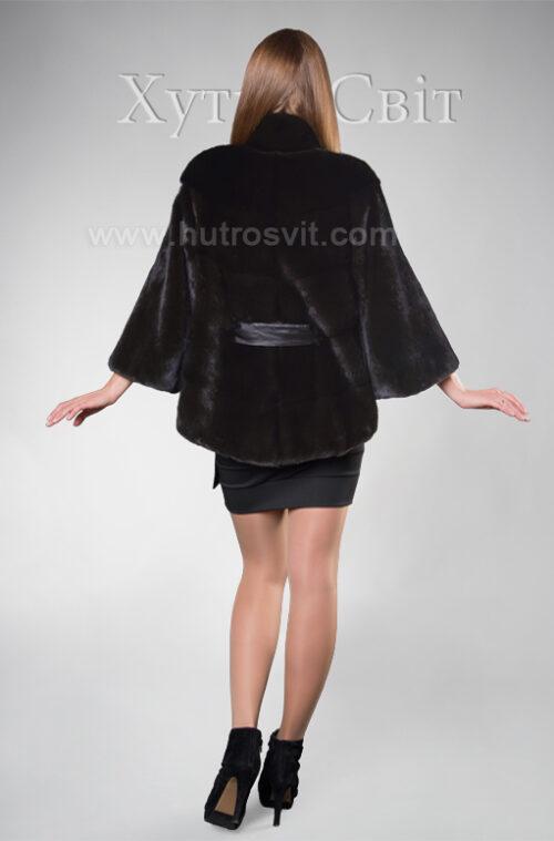 Норковый полушубок Блэкглама с воротником стойка, возможен укороченный и полный рукав, фото 3