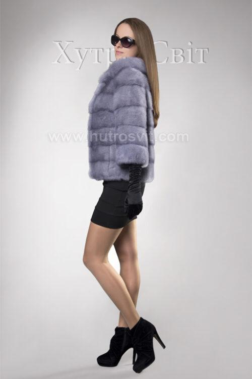 Півшубок-курточка із голубої норки, поперечка, стильний комір типу *шанель*, фото 1