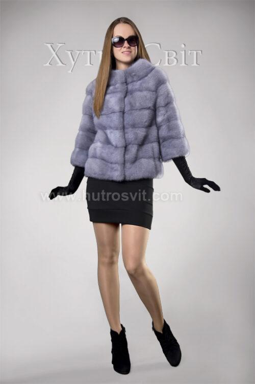 Півшубок-курточка із голубої норки, поперечка, стильний комір типу *шанель*