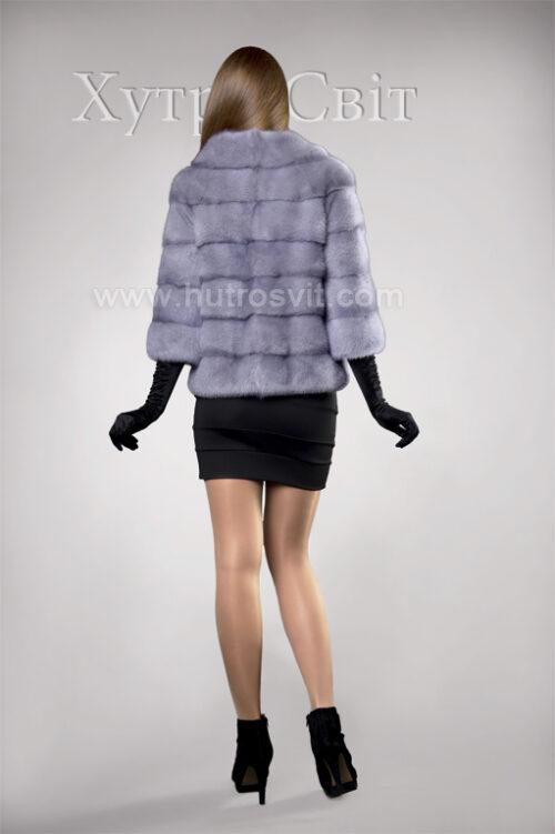 Півшубок-курточка із голубої норки, поперечка, стильний комір типу *шанель*, фото 3