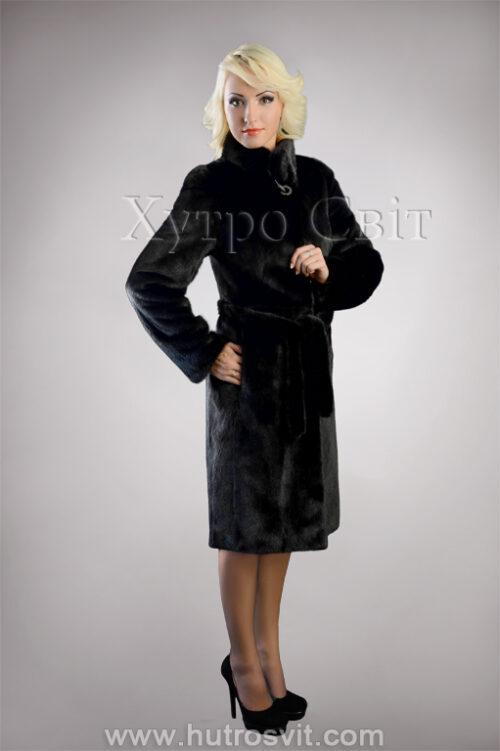 Шуба из скандинавской черной норки, воротник стойка, пальтовой фасон, фото 4