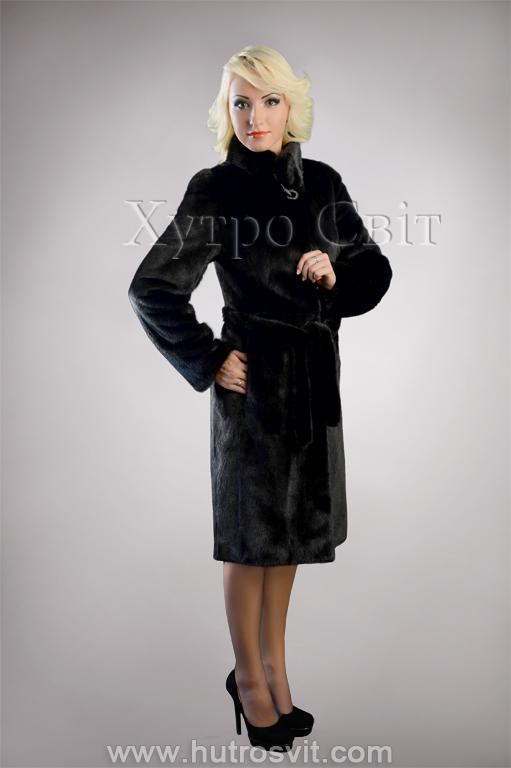 Шуба із чорної скандинавської норки, комір стійка, модель пальто Фото 4