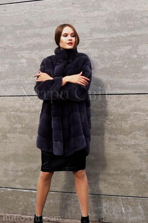 продукция производителя  ХутроСвіт Тисмениця 2021 Норковая шуба цвета графит, слегка расширенная, воротник стойка, фото 1