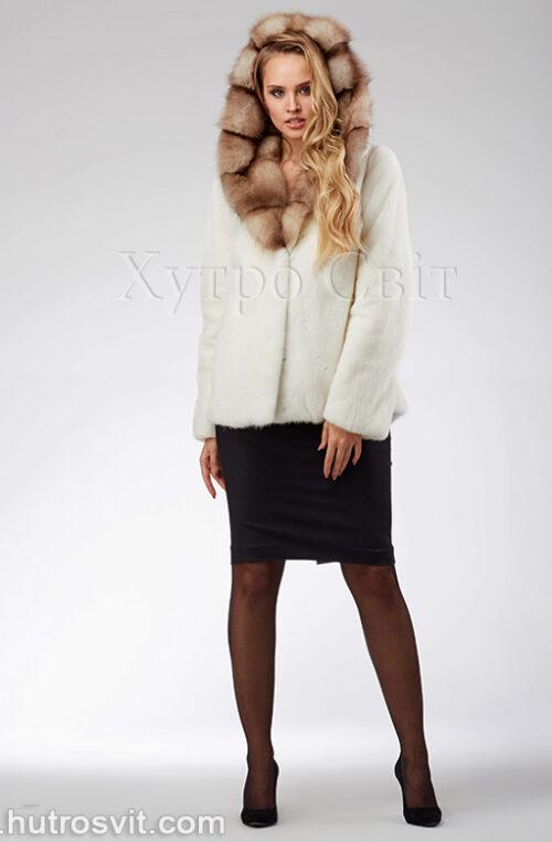 продукція виробника ХутроСвіт Тисмениця 2021 Біла норкова шуба – курточка з капюшоном із куниці, фото 1