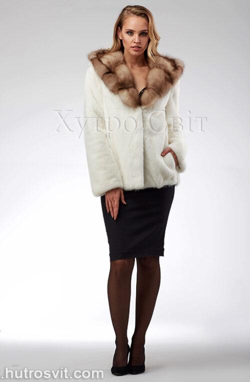 продукція виробника ХутроСвіт Тисмениця 2021 Біла норкова шуба – курточка з капюшоном із куниці, фото 2
