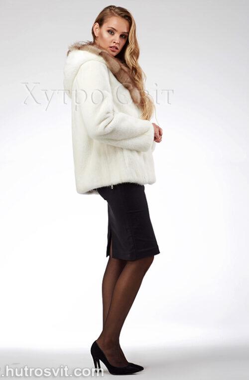 продукція виробника ХутроСвіт Тисмениця 2021 Біла норкова шуба – курточка з капюшоном із куниці, фото 3
