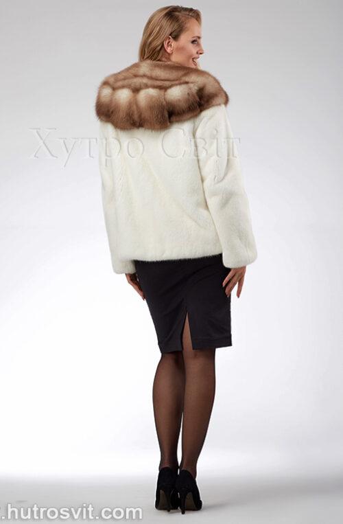 продукція виробника ХутроСвіт Тисмениця 2021 Біла норкова шуба – курточка з капюшоном із куниці, фото 4