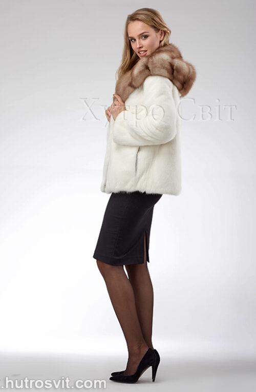 продукція виробника ХутроСвіт Тисмениця 2021 Біла норкова шуба – курточка з капюшоном із куниці, фото 5