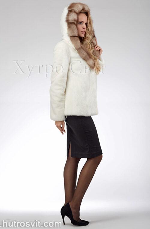 продукція виробника ХутроСвіт Тисмениця 2021 Біла норкова шуба – курточка з капюшоном із куниці, фото 6