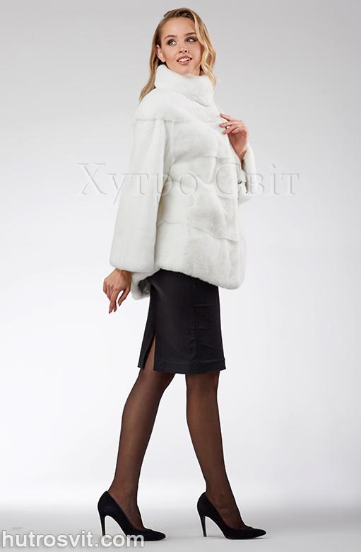 продукція виробника ХутроСвіт Тисмениця 2020 Біла норкова шуба – модель курточка зі стійкою, фото 1