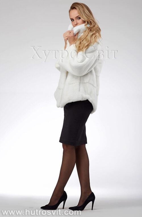продукция производителя  ХутроСвіт Тисмениця 2021 Белая норковая шуба – модель курточка с воротником стойка, фото 10