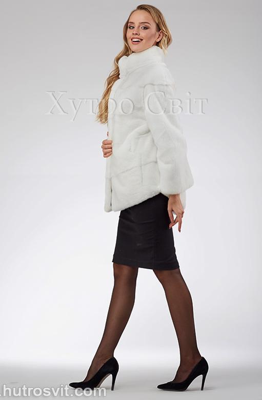 продукція виробника ХутроСвіт Тисмениця 2020 Біла норкова шуба – модель курточка зі стійкою, фото 2