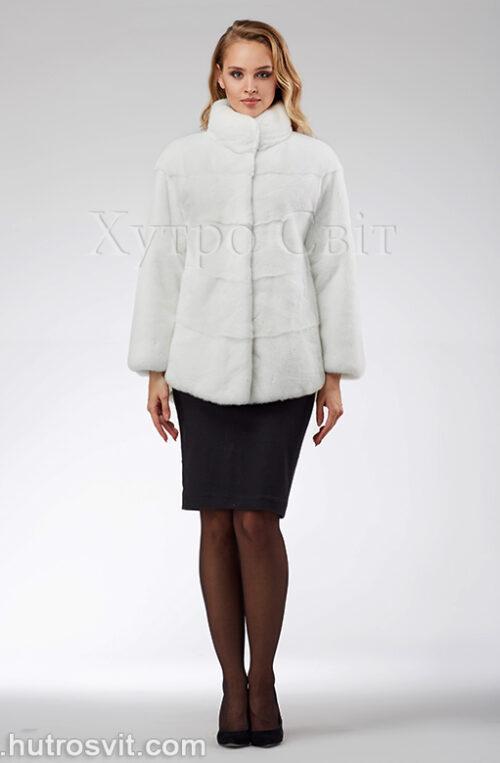продукция производителя  ХутроСвіт Тисмениця 2021 Белая норковая шуба – модель курточка с воротником стойка, фото 3