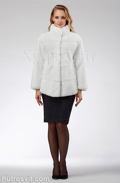 продукція виробника ХутроСвіт Тисмениця 2020 Біла норкова шуба – модель курточка зі стійкою, фото 3