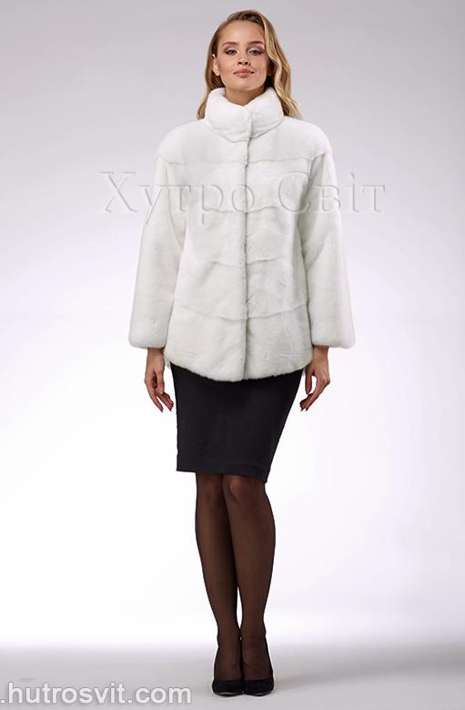 продукція виробника ХутроСвіт Тисмениця 2020 Біла норкова шуба – модель курточка зі стійкою, фото 4