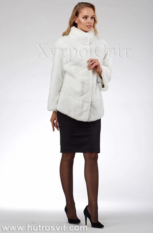 продукция производителя  ХутроСвіт Тисмениця 2021 Белая норковая шуба – модель курточка с воротником стойка, фото 5