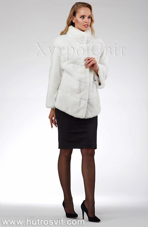 продукція виробника ХутроСвіт Тисмениця 2020 Біла норкова шуба – модель курточка зі стійкою, фото 5