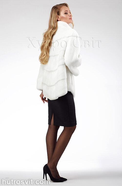 продукция производителя  ХутроСвіт Тисмениця 2021 Белая норковая шуба – модель курточка с воротником стойка, фото 6