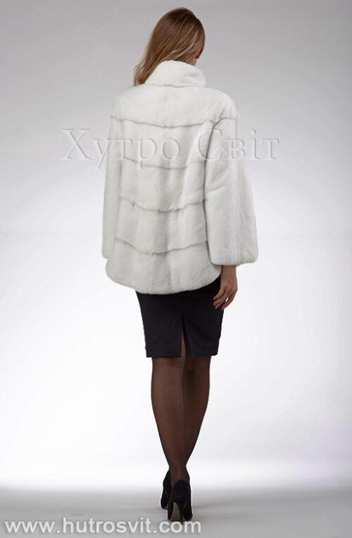 продукция производителя  ХутроСвіт Тисмениця 2021 Белая норковая шуба – модель курточка с воротником стойка, фото 7