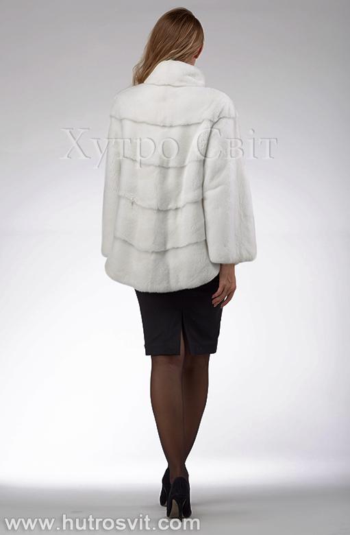 продукція виробника ХутроСвіт Тисмениця 2020 Біла норкова шуба – модель курточка зі стійкою, фото 7