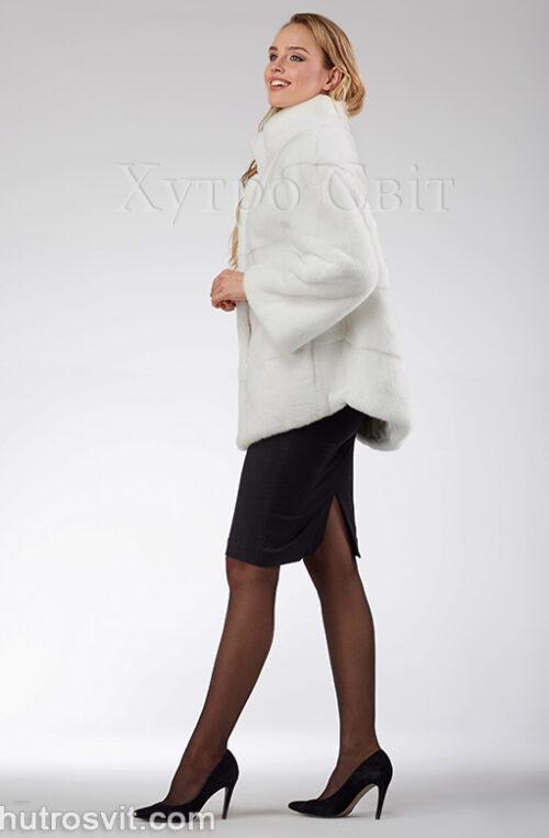 продукция производителя  ХутроСвіт Тисмениця 2021 Белая норковая шуба – модель курточка с воротником стойка, фото 8