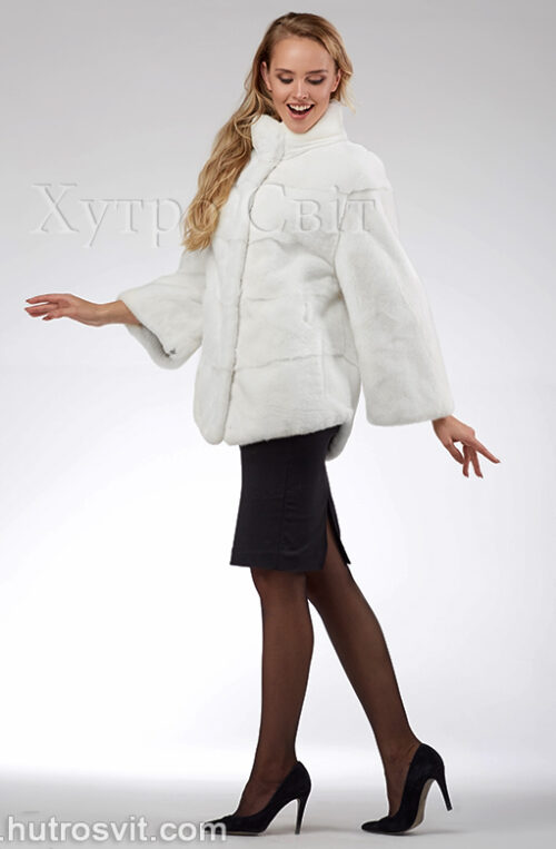 продукция производителя  ХутроСвіт Тисмениця 2021 Белая норковая шуба – модель курточка с воротником стойка, фото 9