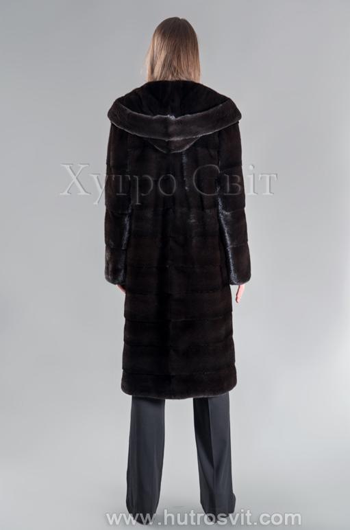 Шуба норкова Блекглама з капюшоном від ХутроСвіт Тисмениця Фото 3