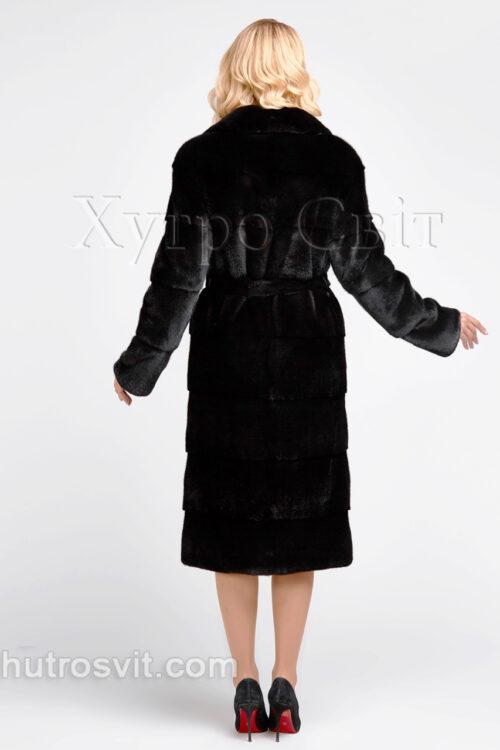 продукція виробника ХутроСвіт Тисмениця 2021 Норкова шуба чорна, поперечне пошиття, англійський комір, фото 4