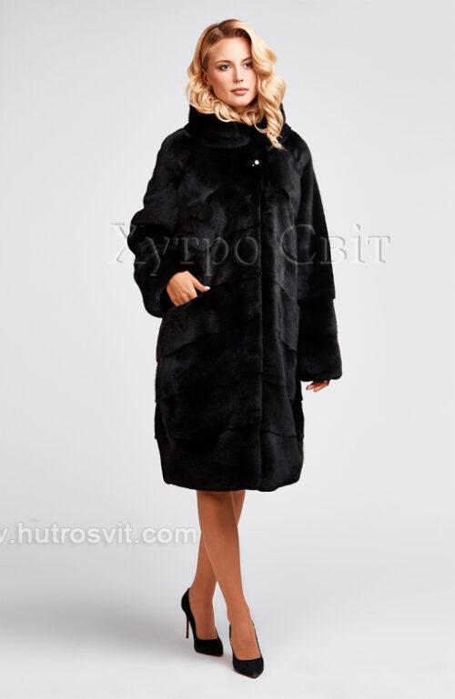 продукция производителя  ХутроСвіт Тисмениця 2020 Норковая шуба черная, капюшон, фасон – легкий кокон, фото 2
