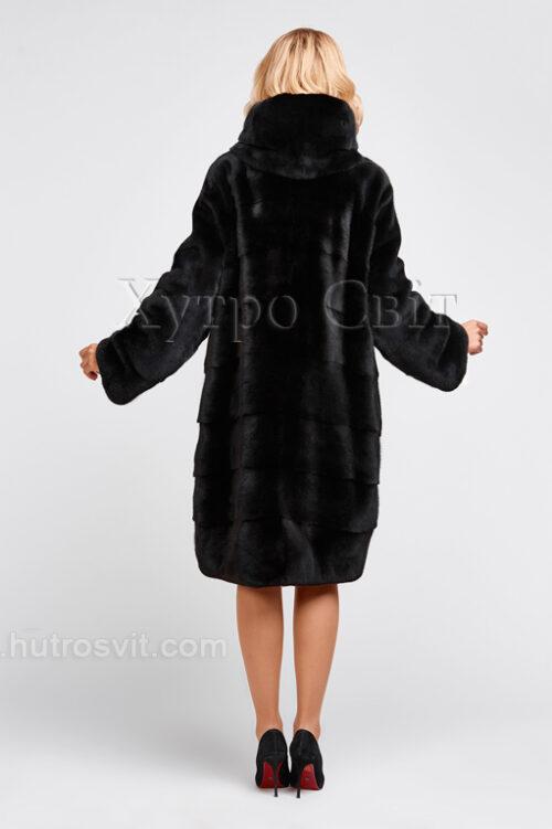 продукция производителя  ХутроСвіт Тисмениця 2020 Норковая шуба черная, капюшон, фасон – легкий кокон, фото 3